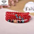 supply of male and female counter multi Ring Bracelet Red chalcedony with six words 108 Pearl crystal jewelry sales