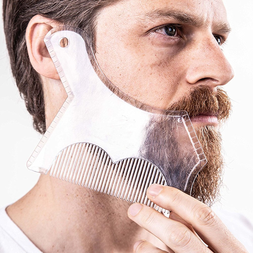 1Pc Men Beard Shaping Styling Template Comb Trimming Shaper Stencil Men's Beards Combs Beauty Tool for Maintain Accurate Lines