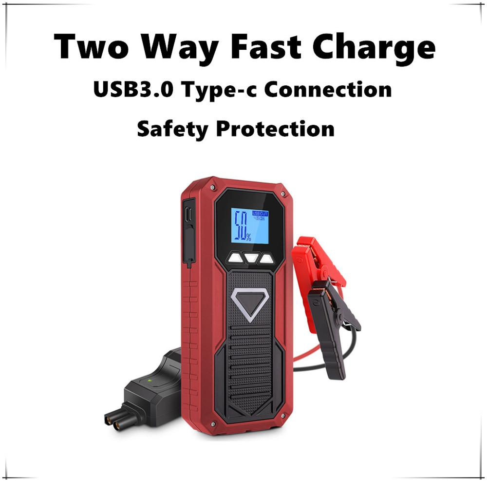 2019 Protection de température saut démarreur USB 3.0 Type C deux voies Charge rapide outil multifonction pour voiture chargeur portatif batterie Booster