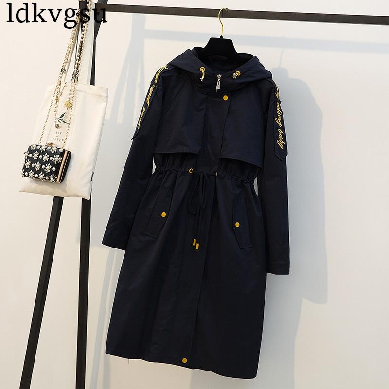 fashion 2019 Autumn Winter Long Trench Coats Large Size Women's Navy Overcoats Long Windbreaker Loose Casual Hooded Coats V135