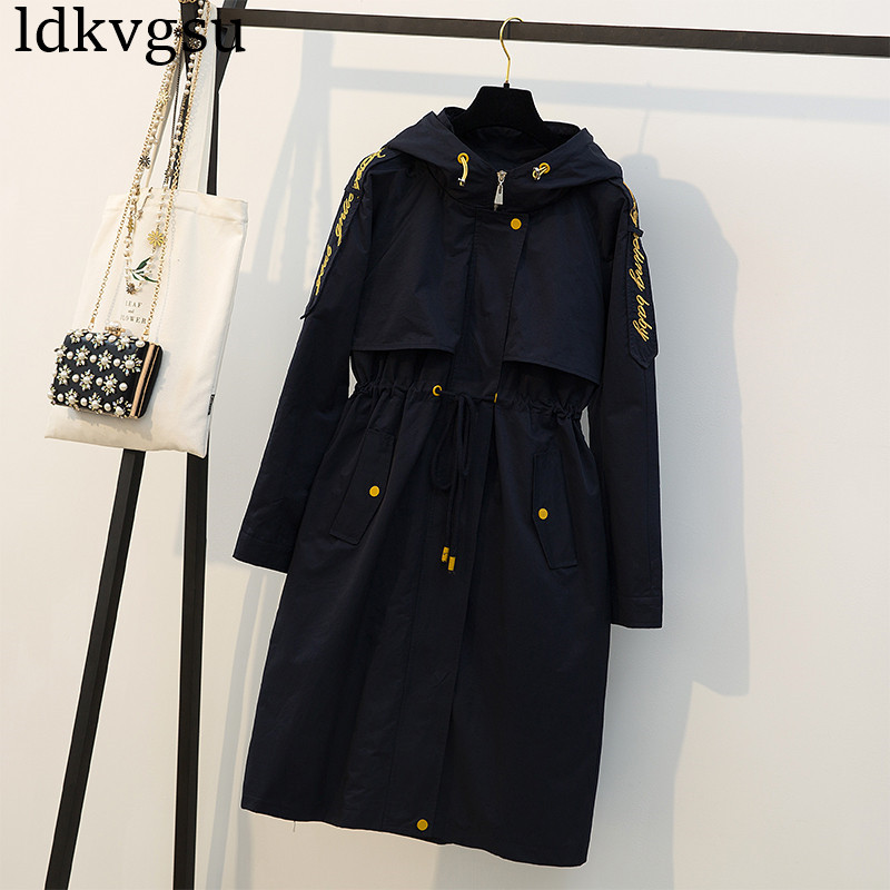 fashion 2019 Autumn Winter Long   Trench   Coats Large Size Women's Navy Overcoats Long Windbreaker Loose Casual Hooded Coats V135
