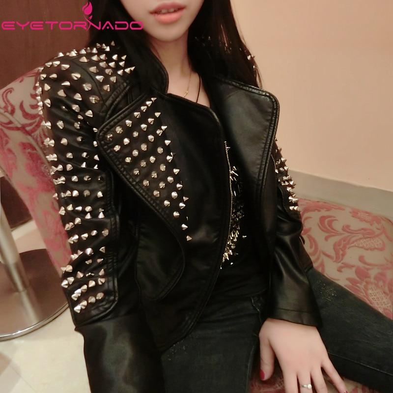 Women autumn faux   leather   PU jacket rivets beading biker motorcycle casual zipper bomber short basic punk   suede   jacket E6295