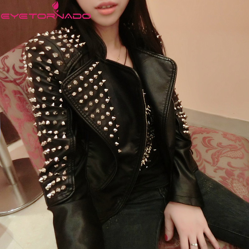 Women autumn faux leather PU jacket rivets beading biker motorcycle casual zipper bomber short basic punk suede jacket E6295