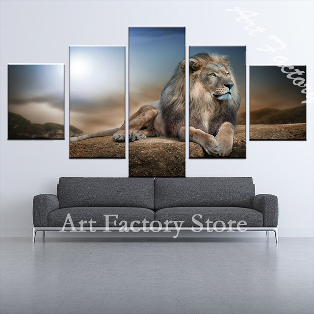 Home Decor Animal Oil Pinting Lion King Poster Wall Art And Prints Modern Canvas Pictures For Living Room 5 Pieces 266 2 In Painting Calligraphy