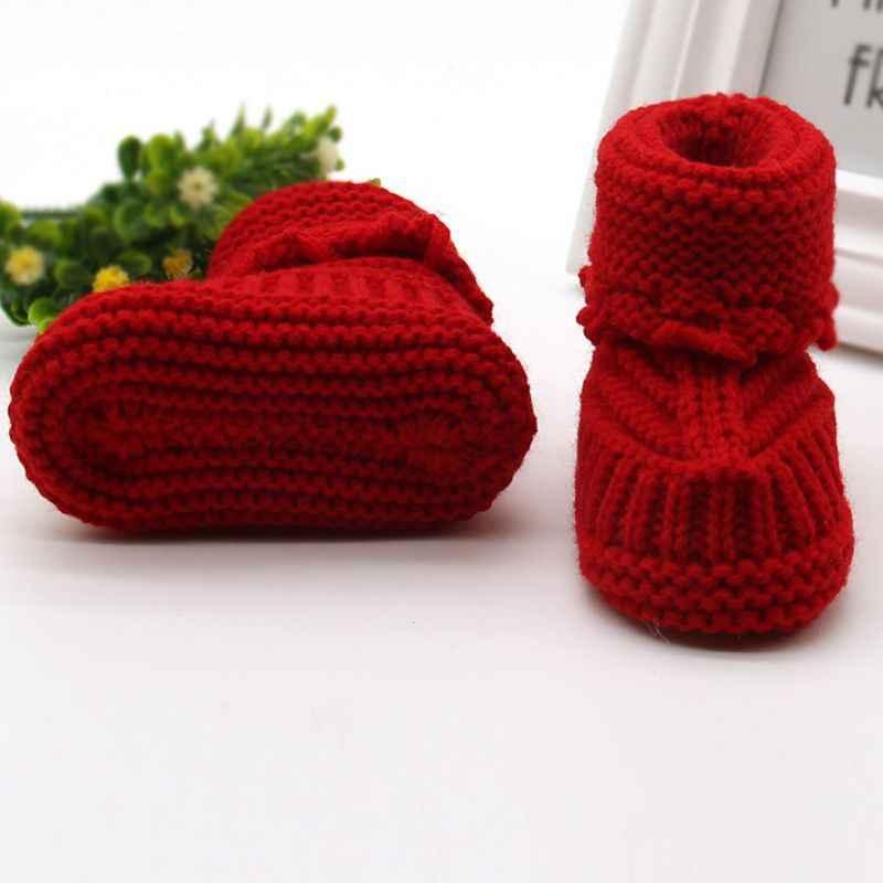 Yün Bebek kar ayakkabıları Bebekler Tığ Örgü Polar Çizmeler Ilmek Toddler Kız Erkek Yün Beşik Ayakkabı Kış Sıcak Patik 0- 6 M
