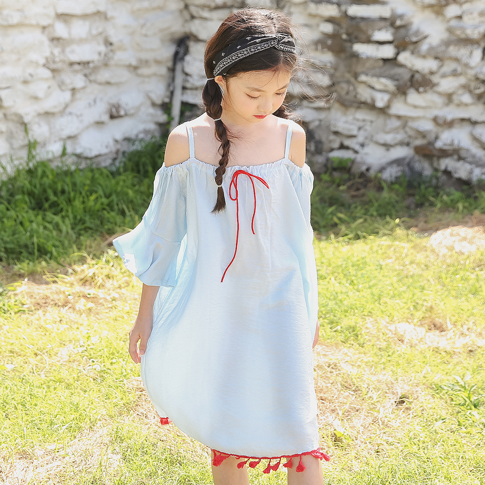 Summer Girls Holiday Vacation Dress Dream Blue Off Shoulder Clothes Tassel Design Hairball Age 56789 10 11 12 13 14 15Years Old dg подушка с принтом summer holiday blue