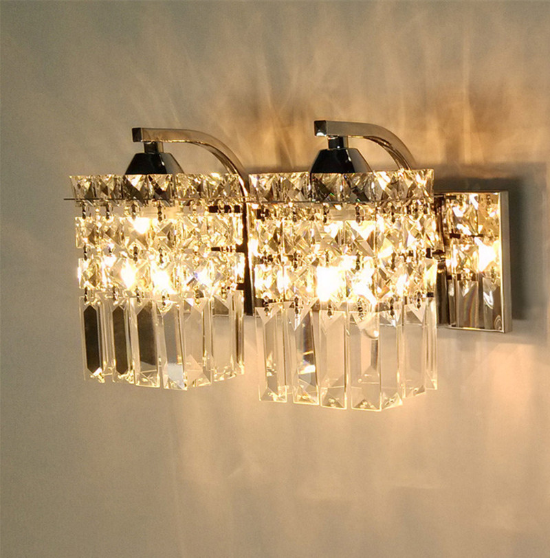 Korean style Led K9 crystal wall lamp sconce Post Modern cafe bedroom crystal lighting wall fixtures indoor wall lamps abajur mirror high quality k9 crystal led wall lamp sconce post modern coffee shop decatarion lighting fixture indoor wall lamps abajur
