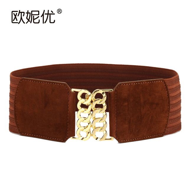 New Winter Lady Fashion Suede Belt Women Wide High Elastic Waistband Super Wide Simple Decoration Wide Elastic Belt  B-4012