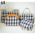 2017 Lady Vintage Wool Houndstooth Shoulder Bag Women Retro Woven Classical Fabulous Fabric Top-Handle Small Cell Phone Handbags