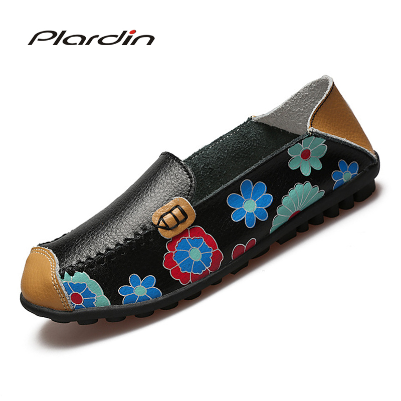 2017 Cow Muscle Ballet Summer Flower Print Women Genuine Leather Shoes Woman  Flat Flexible Nurse  Peas Loafer Flats Appliques new women shoes breathable fashion ladies flats non slip summer wedges shoes for women aa10218