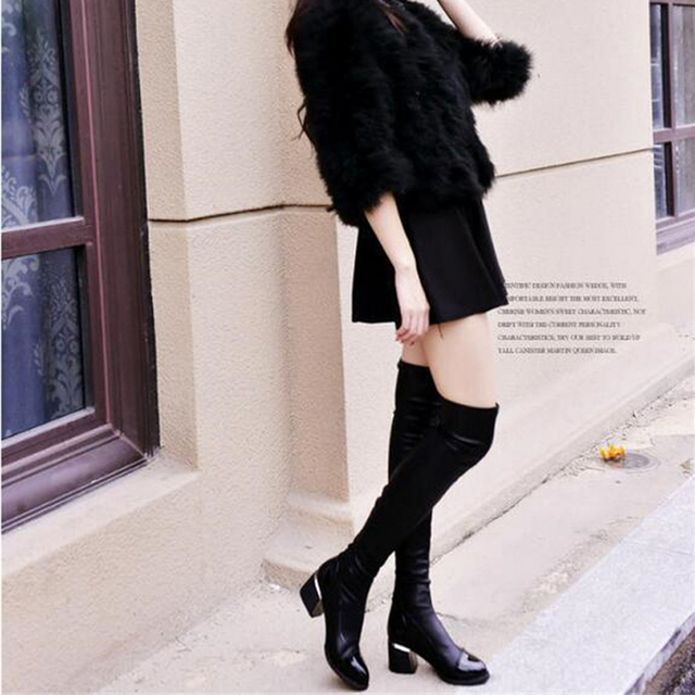 Black PU Leather Over The Knee Boots