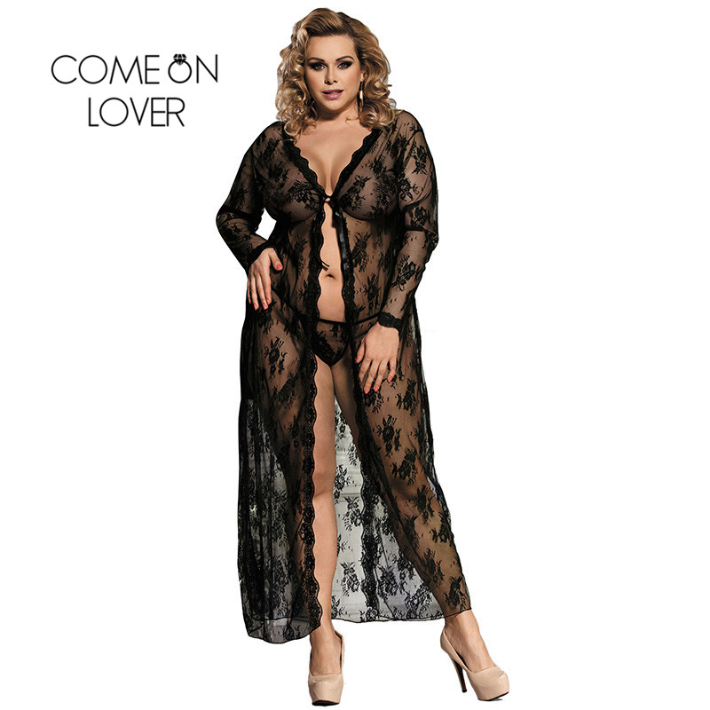 Comeonlover Women Sexy Lingerie Sexy Underwear Women Lady Intimo Donna Sexy Hot Porno Black Lace Gown Sexy Nightwear RI80232