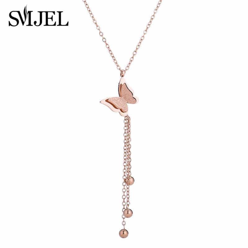 SMJEL ze stali nierdzewnej motyl wisiorki naszyjniki dla kobiet panie zwierząt Tassel kuleczka na łańcuszku uroczy choker biżuteria dziewczęca prezenty