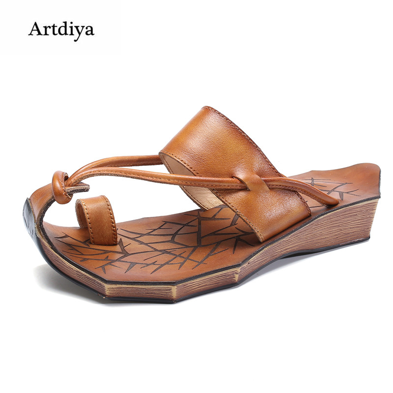 Artdiya Flat Genuine Leather Slippers 2018 New Summer Fashion Women Slippers Low Heels Cowhide Handmade Sandals T58517-1 2018 new high end leather comfortable feet sandals classic sandals handmade leather slippers handmade leather slippers