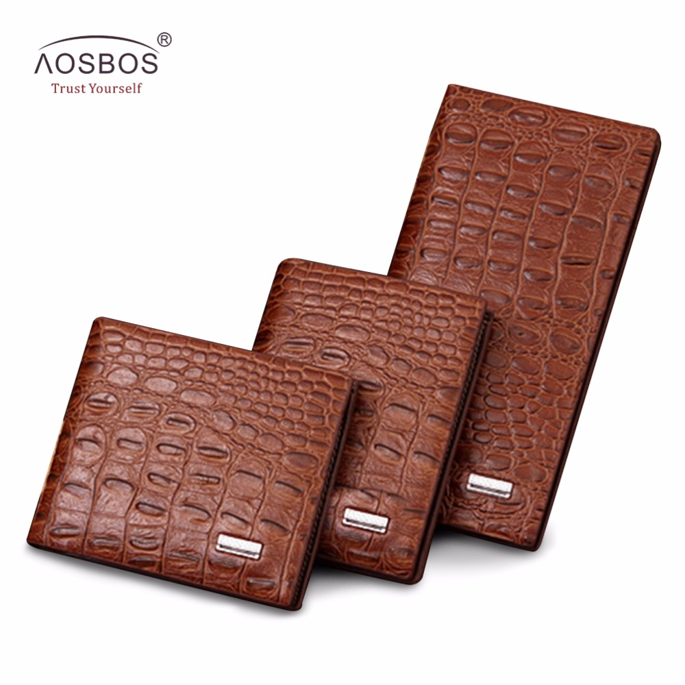 Aosbos Men Long Wallet Crocodile High Quality PU Leather Wallets Soft Korean Style Clutches Card Holders Multifunctional Purses lorways 016 stylish check pattern long style pu leather men s wallet blue coffee