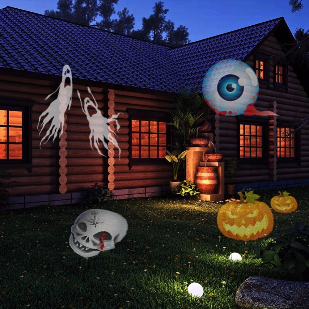 Projecteur de lumière LED Noël Halloween, avec 16 motifs différents pour fêtes