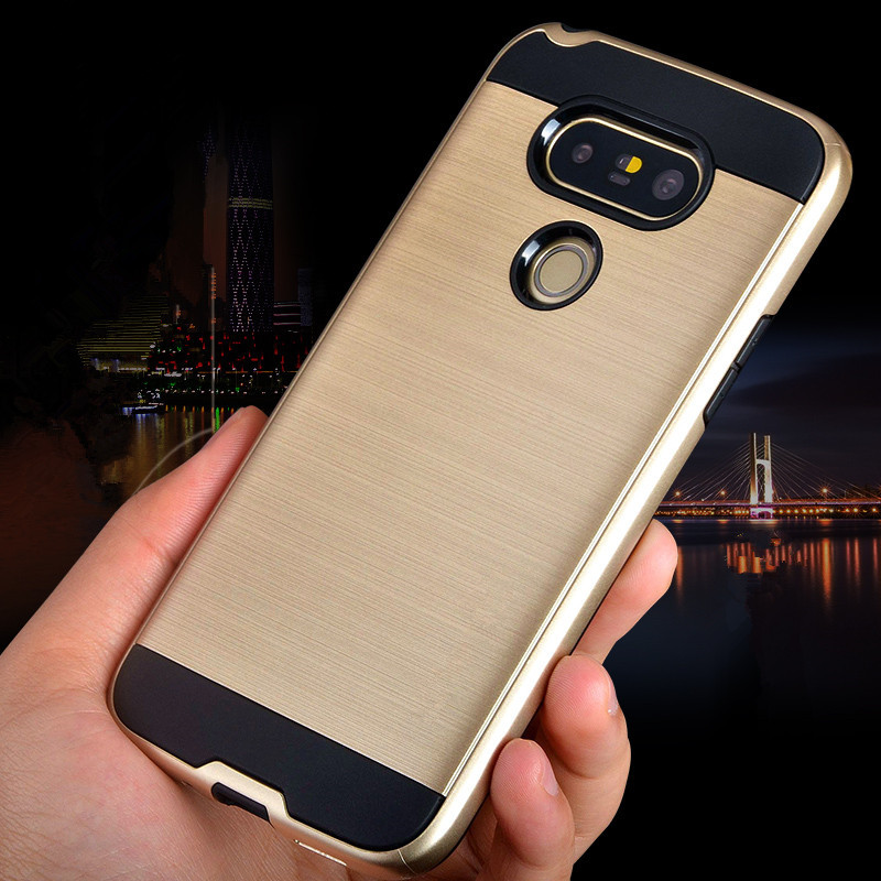 ΝΕΟ πολυτελές εμπορικό σήμα V5 Brushed Tough Ultra Thin Armor Phone Case για LG G5 H850 / G6 Hybrid PC + TPU Shockproof Back Cover για LG G 5