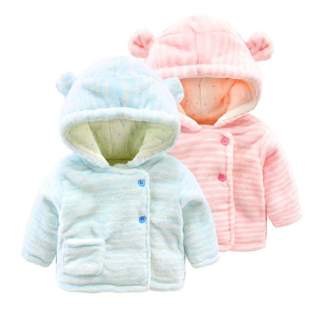 Bebé abrigo de invierno gruesa de algodón acolchado ropa 0-6 meses recién nacido coral polar chaqueta