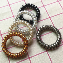 Wholesale 20PCS Candy Bright Color High Elasticity Telephone Wire Bracelet Spiral Band Coil Women Hair Ponytail Holder