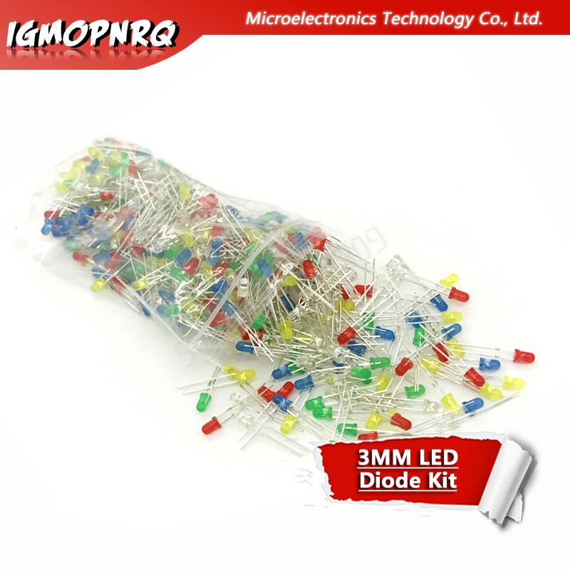 5colors*100pcs 500Pcs 3MM LED Diode Kit Mixed Color Red Green Yellow Blue White  Light LED MIX