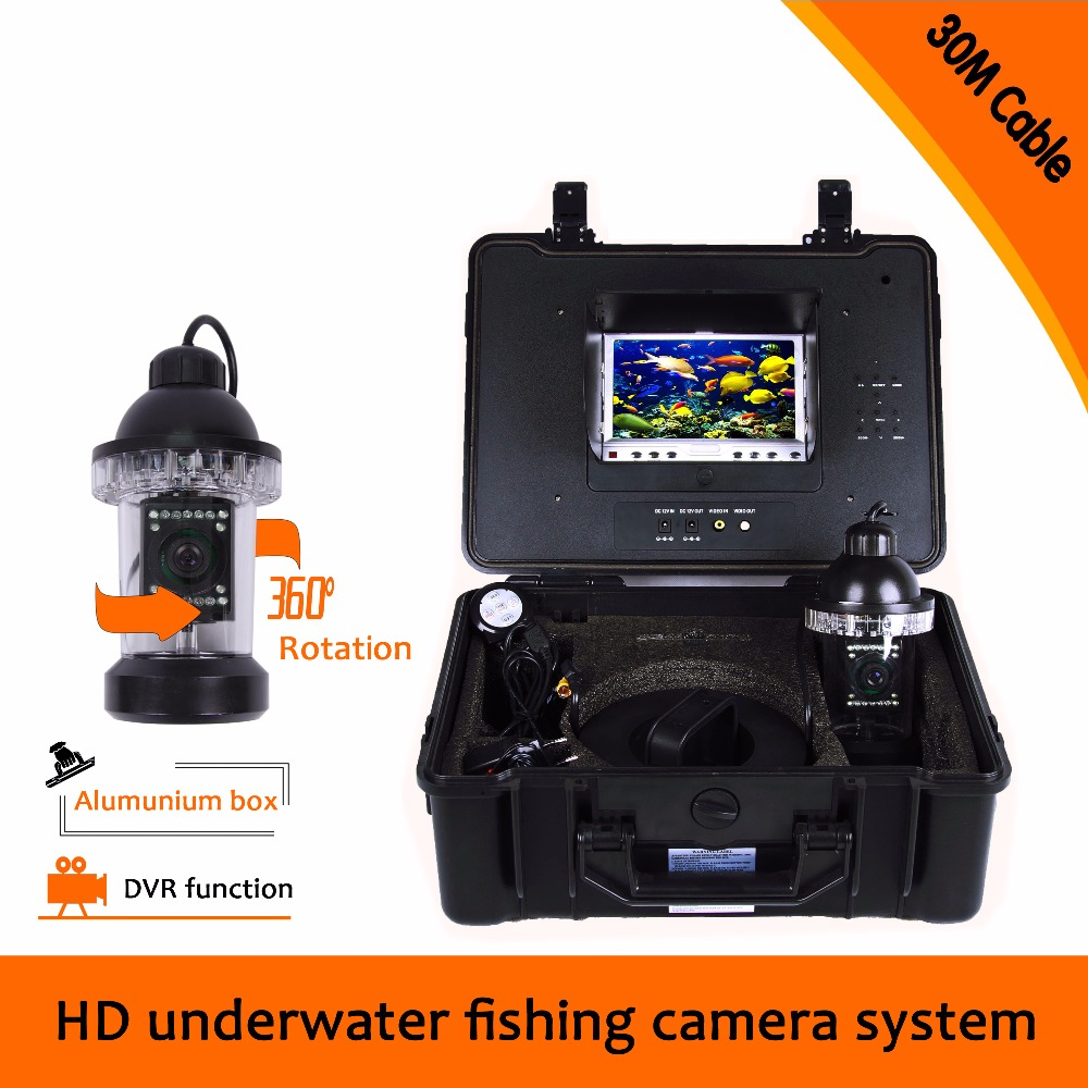 (1 set) 30M Cable Underwater Fishing Camera system with DVR Function 7inch color monitor HD Waterproof Fish Finder Night Visible цена