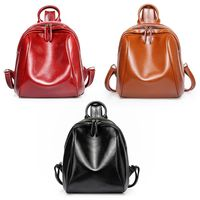 Genuine Leather Backpacks Women Girls Mini Travel School Bag