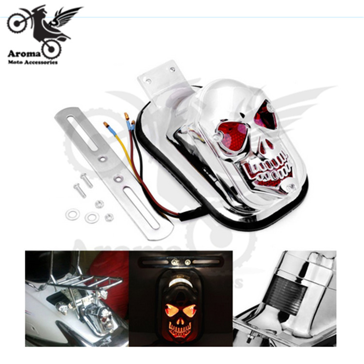 Chrome Motorcycle Accessories Brand Harley Tail Brake Light Skull Style Electroplate Sliver LED Motorbike Parts Moto Stop Signal