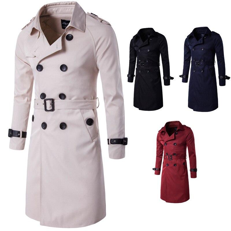 НОВЫЙ Тренч, Мужская брендовая одежда, высокое качество, мужской Тренч, новинка 2017, модное дизайнерское мужское длинное пальто, Осень зима - 2