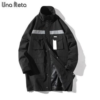 Una Reta Windbreaker Jacket Men 2018 New Autumn Hip Hop Long Jacket Pocket design Casual Windbreaker Streetwear Brand Coat Mens
