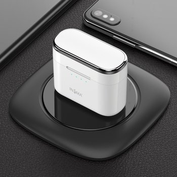 INSMA AirBuds with QI Charging Case Mini TWS Earphone bluetooth 5.0 Earbuds Hi-Fi Stereo Wireless Headset White