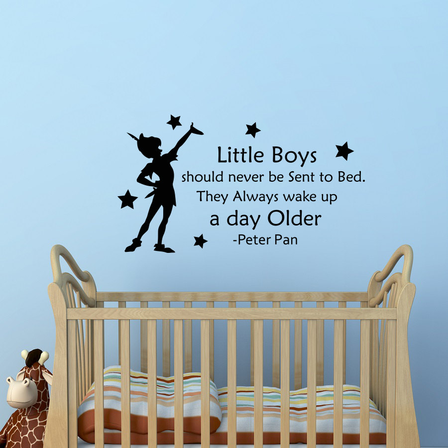 US $4.12 25% OFF Removable Peter Pan Quotes Wall Decal little Boys should  never be sent to bed Kids Room Decor Sticker Home Nursery Poster WW 1-in ...