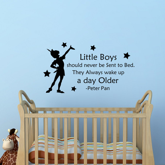 Delightful Removable Peter Pan Quotes Wall Decal Little Boys Should Never Be Sent To  Bed Kids Room