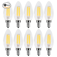 10Pcs Pack E14 LED Dimmable Filament Candle Bulbs C35 4W 220 240V LED 40W Replacement Bulb
