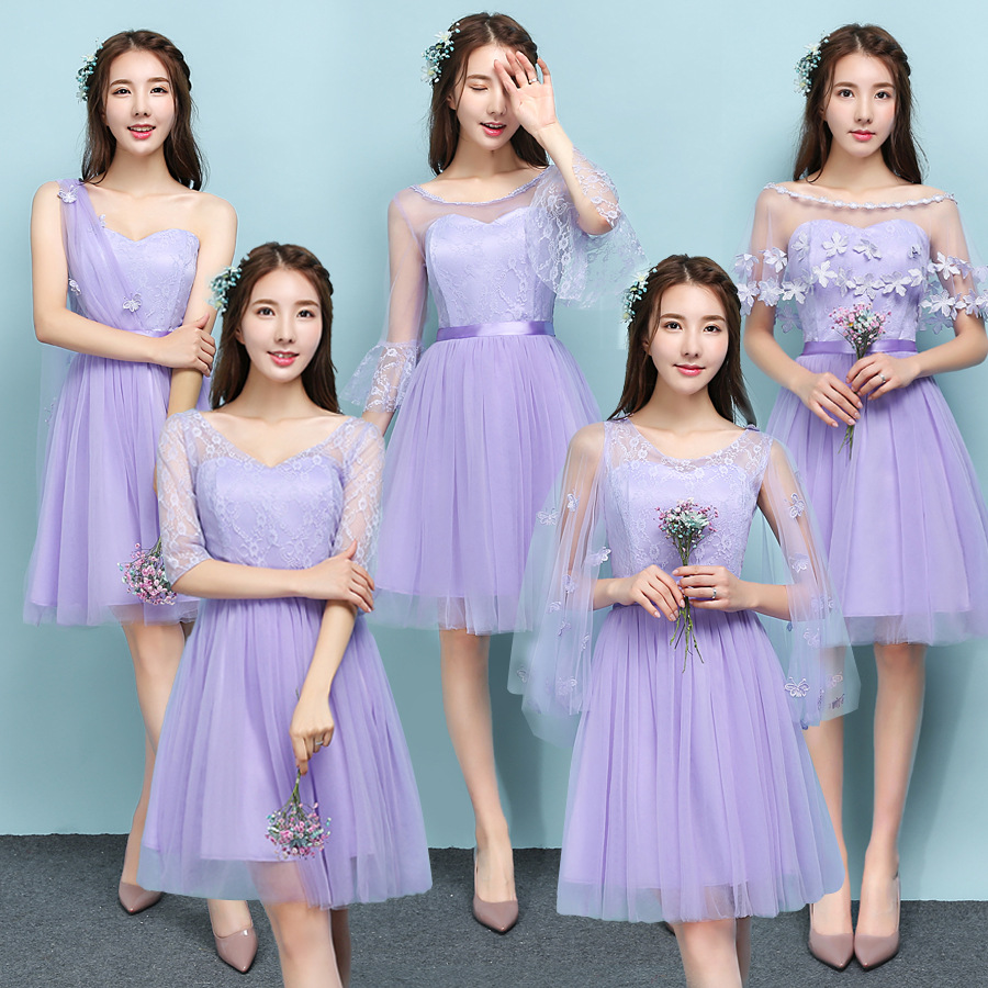 2018 Popodion violet bridesmaid dresses sister wedding party dress  bridesmaids dresses for women ROM80119 3d0080dfb280
