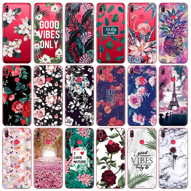 Soft Back Shell For <font><b>Huawei</b></font> Y9 <font><b>2018</b></font> <font><b>Y5</b></font> Y6 Y7 Y9 2019 Flowers Patterned Clear Silicone Phone Cover For <font><b>Huawei</b></font> Y6 Y7 Pro 2019 Cases image