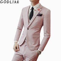 2019 Spring Luxury Mens Wedding Suits Terno Casamento Plus Size 3XL 3 Pieces Casual Slim Fit Good Quality Solid Men Pink Suits