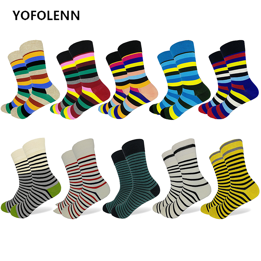 10 Pairs/lot Mens Happy Fashion Socks High Quality Combed Cotton Striped Patterns Long Wedding Gift Colored Dress Socks for Men