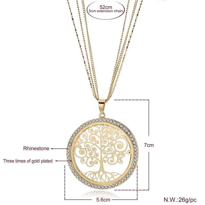 ATTRACTTO ทอง Tree Of Life สร้อยคอจี้ Charms สำหรับผู้หญิงสแตนเลสสตีลเงินเครื่องประดับสร้อยคอ SNE180007