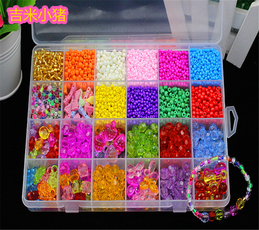 24 Slot Acrylic Beads DIY Toys For Children Crystal Beaded Lacing Bracelet Toy Girls Gift Waving Necklace Learning Education Toy