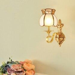 Na zewnątrz miedzi W43cm H38cm brąz amerykański klasyczne miedzi sztuki brązu kinkiet szkło mosiężne kinkiet ścienny AC 100% gwarantowana w Wewnętrzne kinkiety LED od Lampy i oświetlenie na