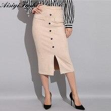 Bodycon Suede Falda de tubo con alta cintura Faux falda de cuero  estiramiento mujeres lápiz Oficina falda Otoño Invierno 7e8f6099a661