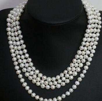 Women Gift Freshwater Natural 7-8mm white black freshwater cultured nearround beads 3 rows necklace chain prom weddings fashion