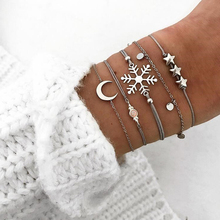 купить 5 Pcs/ Set Personality Snowflake Star Moon Gem Round Pendant Silver Leather Chain Bracelet Set Women Fashion Jewelry Accessories по цене 124.73 рублей