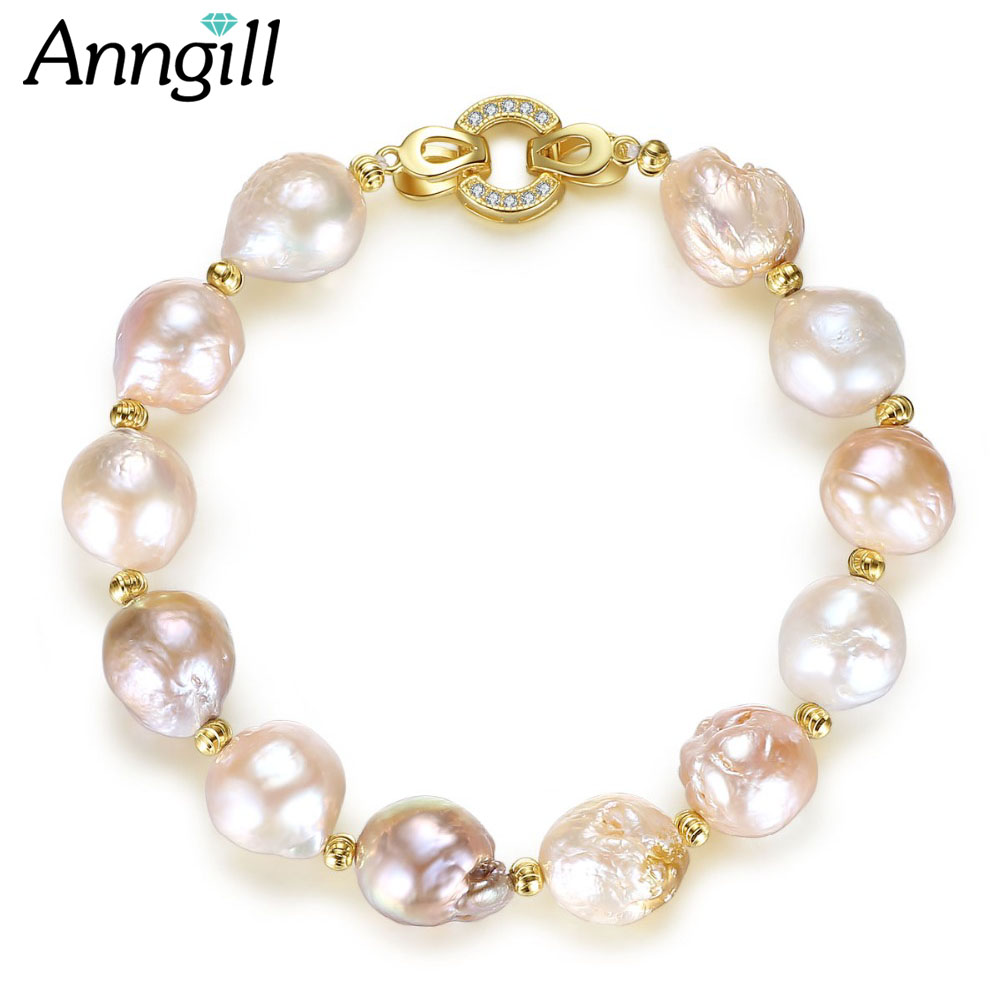 Authentic 12-13mm Natural Freshwater Baroque Pearl Beads Bracelet 925 Sterling Silver Bracelets For Women Friendship Top Quality