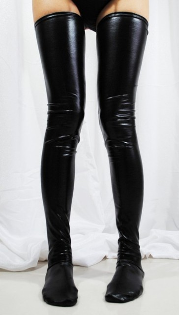 Clubwear Black Latex Stockings Faux Leather Wet Look