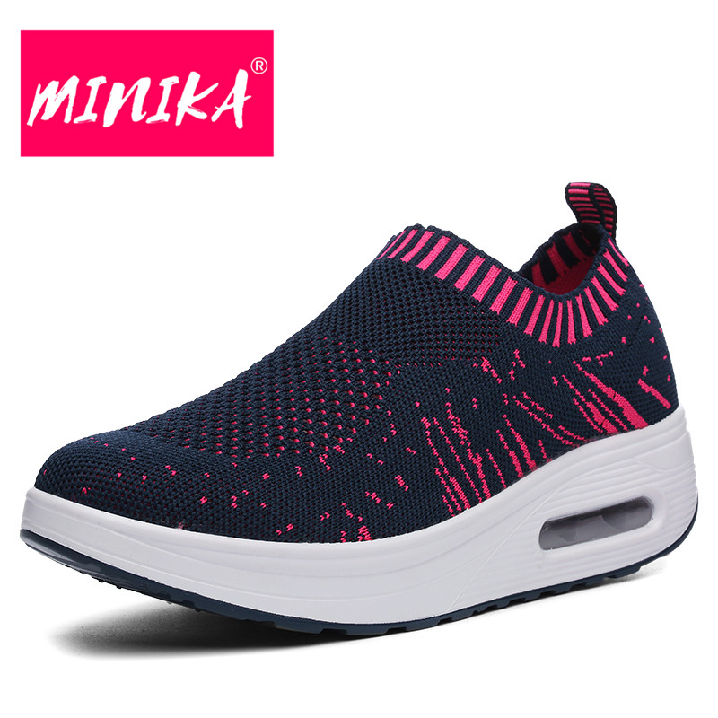 MINIKA Spring & Autumn Women Flat Shoes Breathable Shallow Women Mesh Shoes Swing Bottom Slip on Platform Loafers Shoes Women gogc 2018 new floral denim slipony women breathable shallow shoes footwear flat shoes women fashion sneakers women summer spring