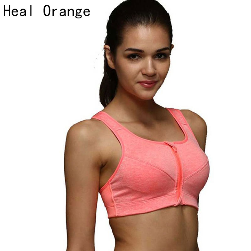 Heal orange women sports bra padded zipper front push up for Without bra photos home