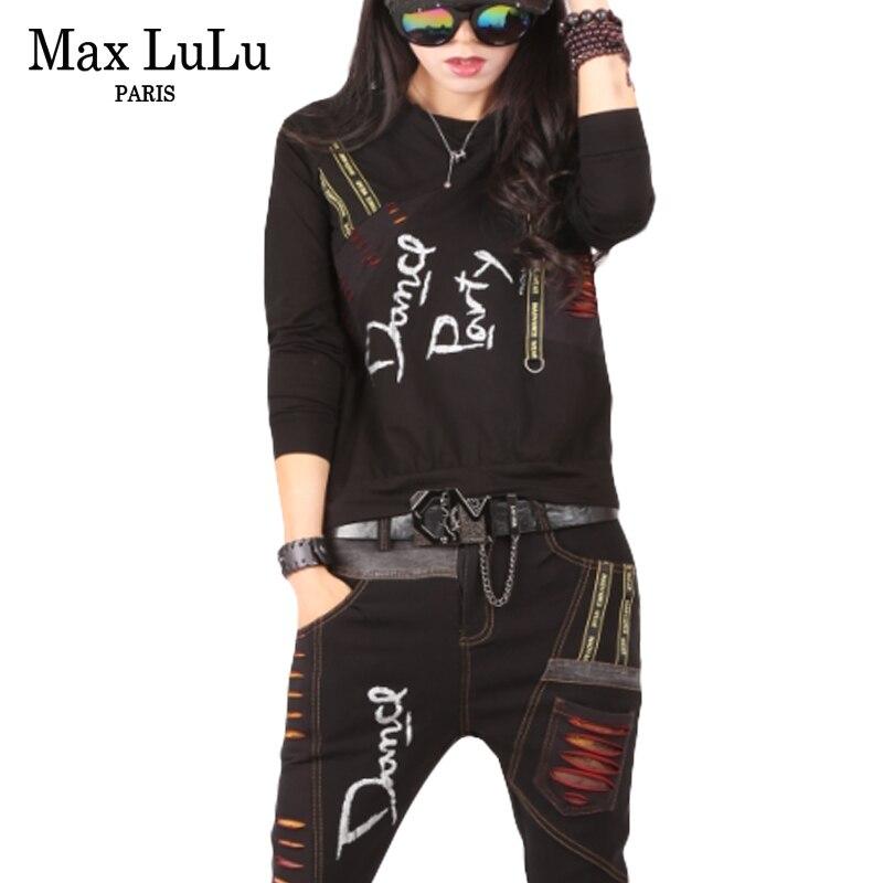 Max LuLu Autumn 2018 Luxury Korean Girls Jeans Streetwear Women Two Pieces Set Denim Tops Tracksuit Woman Outfits Clothes Roupas