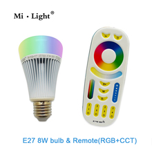 AC85-265V 2.4G Wireless E27 8W RGBWW+ Color Temperature Dimmable 2 in 1 Smart MiLight LED Bulb RGB and CCT
