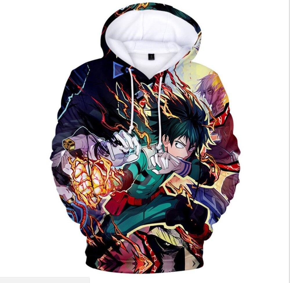 SzBlaZe My Hero Academia Cartoon Anime  Print Hoodies Izuku Midoriya  Cartoon Pullovers Casual Sweatshirt CosPlay Clothing
